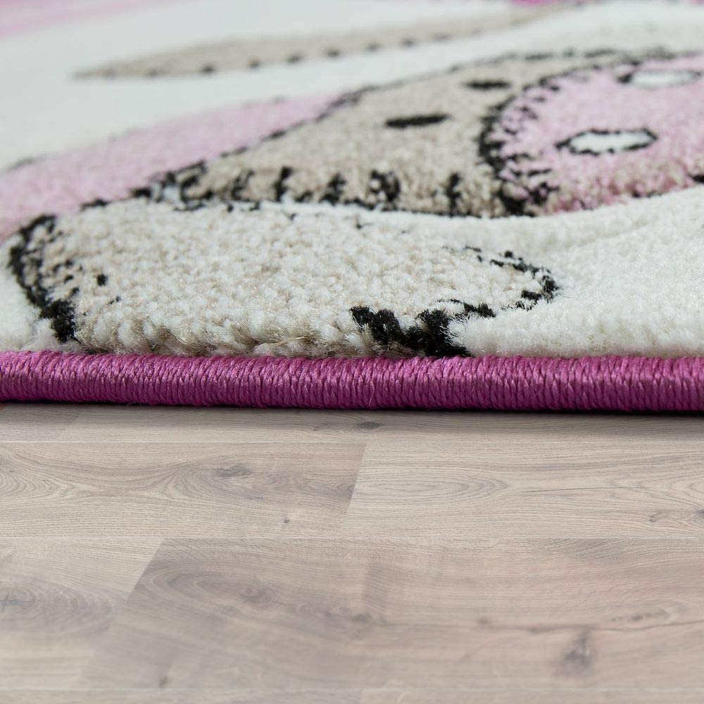 Childrens Rug Children/'s Room Contour Cut Farm Animals Pink Cream Pastel Colours Size:120x170 cm
