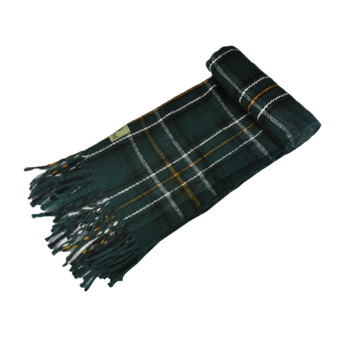 "Celtic Irish Gents Acrylic Scarf With Green, White & Yellow Tartan Design 8"" X 62"" Man of Aran"