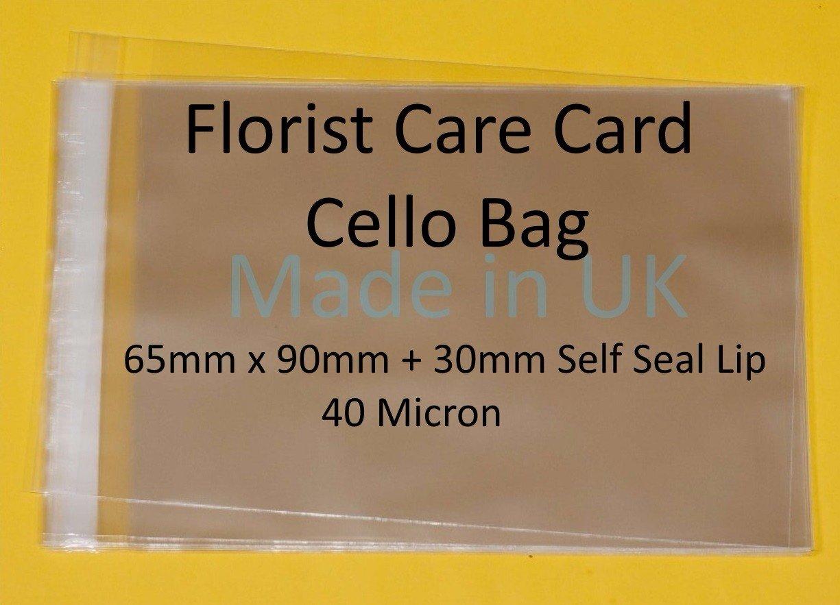 /65/mm x 90/mm rabat de 30/mm /40/Micron/ fleuriste Care carte//ATC sachets en cellophane/