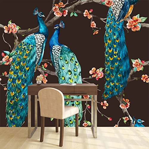 Cheap  azutura Blue Peacock Wall Mural Pink Cherry Blossom Photo Wallpaper Bedroom Home..