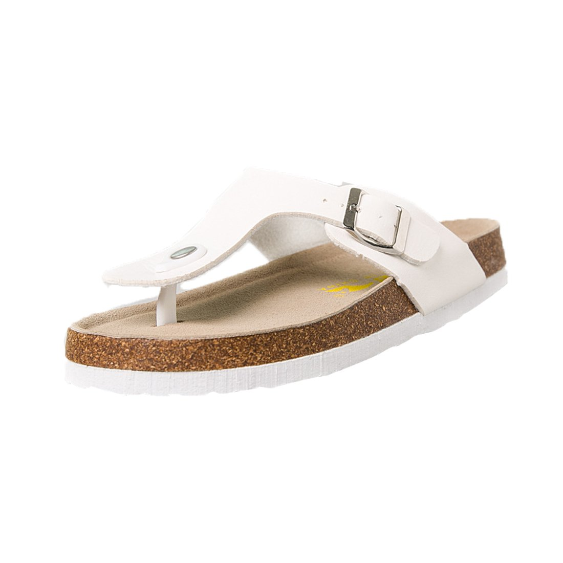 Rockynice Women's Glitter Casual Buckle Thong Slip-On Chunky Platform Wedge Sandal Beach Slides Plus Size B07BC4NZRX 36 EU|White