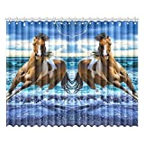 Heartwarming Design Horse Wonderful Home Decoration Polyester Window Curtain 104″(W) x 84″(H)(Two-piece Style)