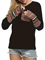 Halife Women's Round Neck Long Sleeve Casual Blouse Shirts Tops with Thumb Holes