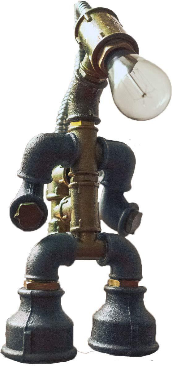 E2С-Loft Handmade Lamp- Steampunk Industrial Style Pipe Desk Light with Dimmer - Bioshok- Robot Old Diver