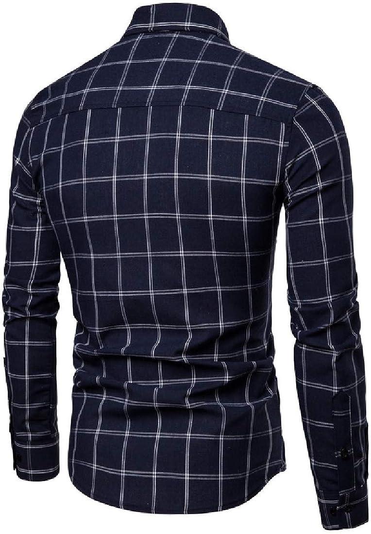 YUNY Men Outerwear Slim-fit Windowpane Tops Jacket Sport Shirt Navy Blue S