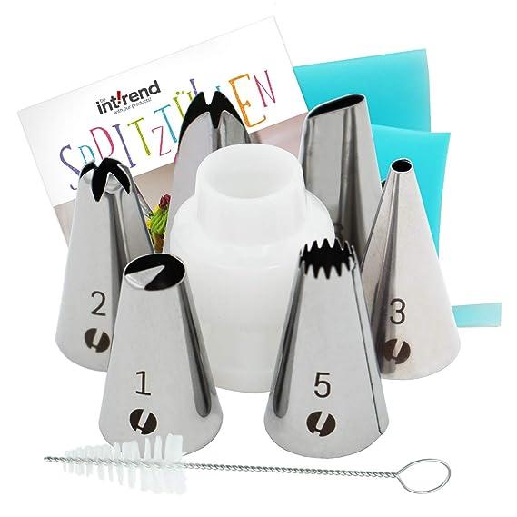 Set de Boquillas Kit Básico int!rend I 6 Boquillas, una Manga Pastelera de Silicona Reutilizable y un Cepillo de Limpieza - para lograr todo tipo de ...