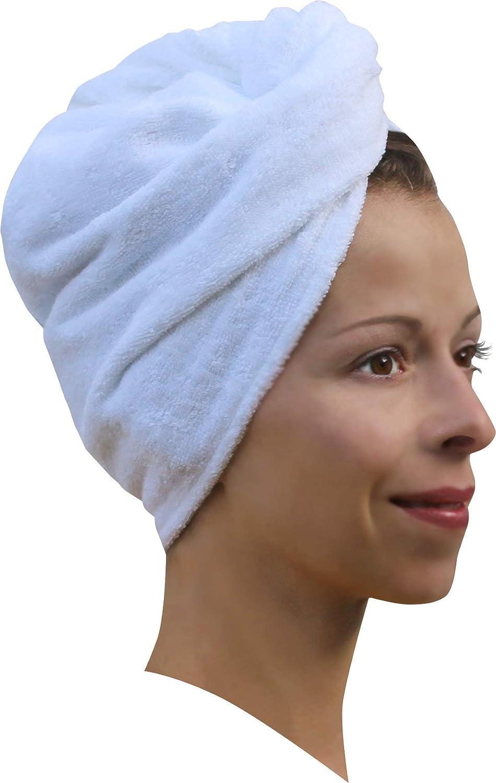1 x Haarpunzel Turbante Panno asciuga capelli Asciugamano Sciarpa testa - Crema Medi-Inn
