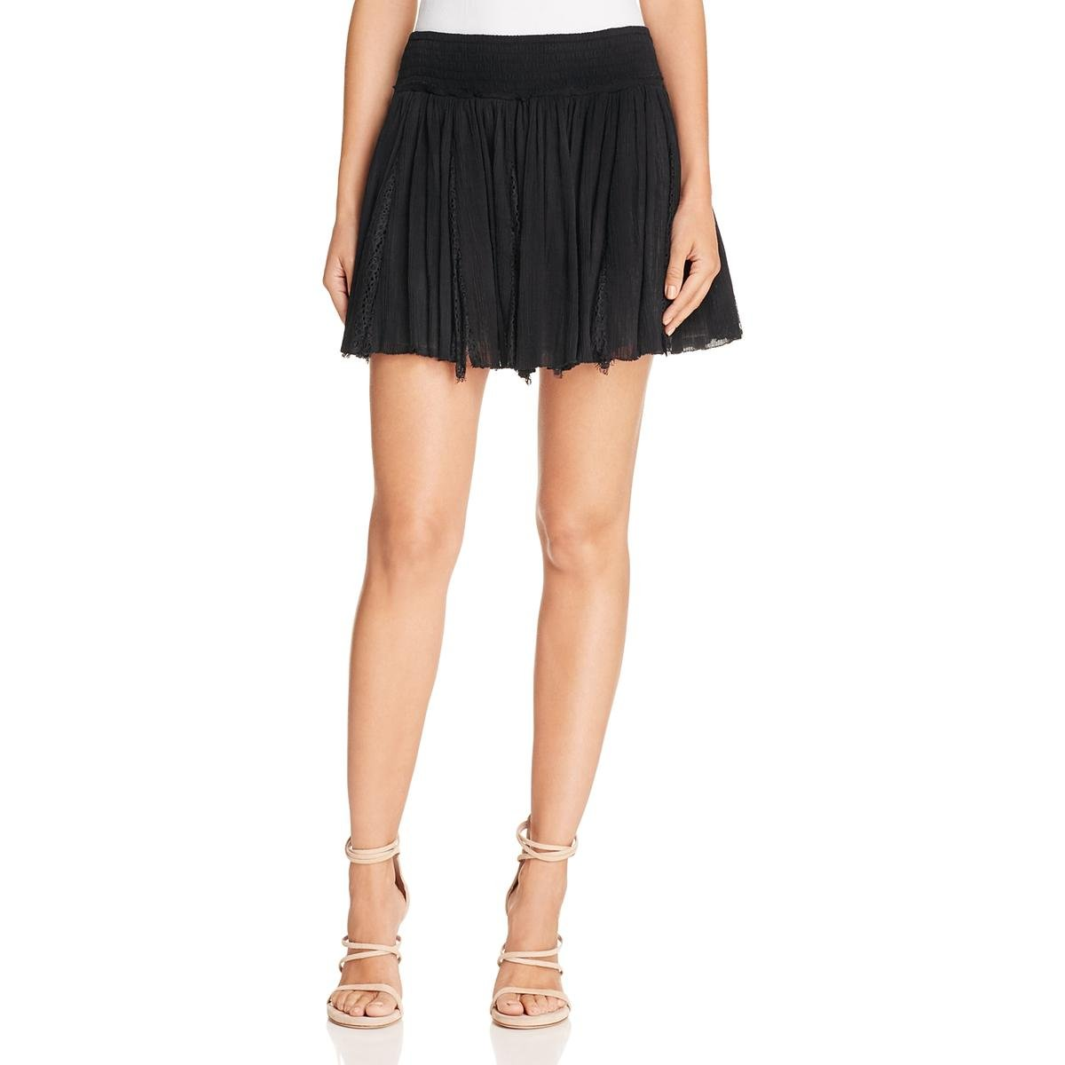 Love Sam Womens Lace Pull On Flare Skirt Black L