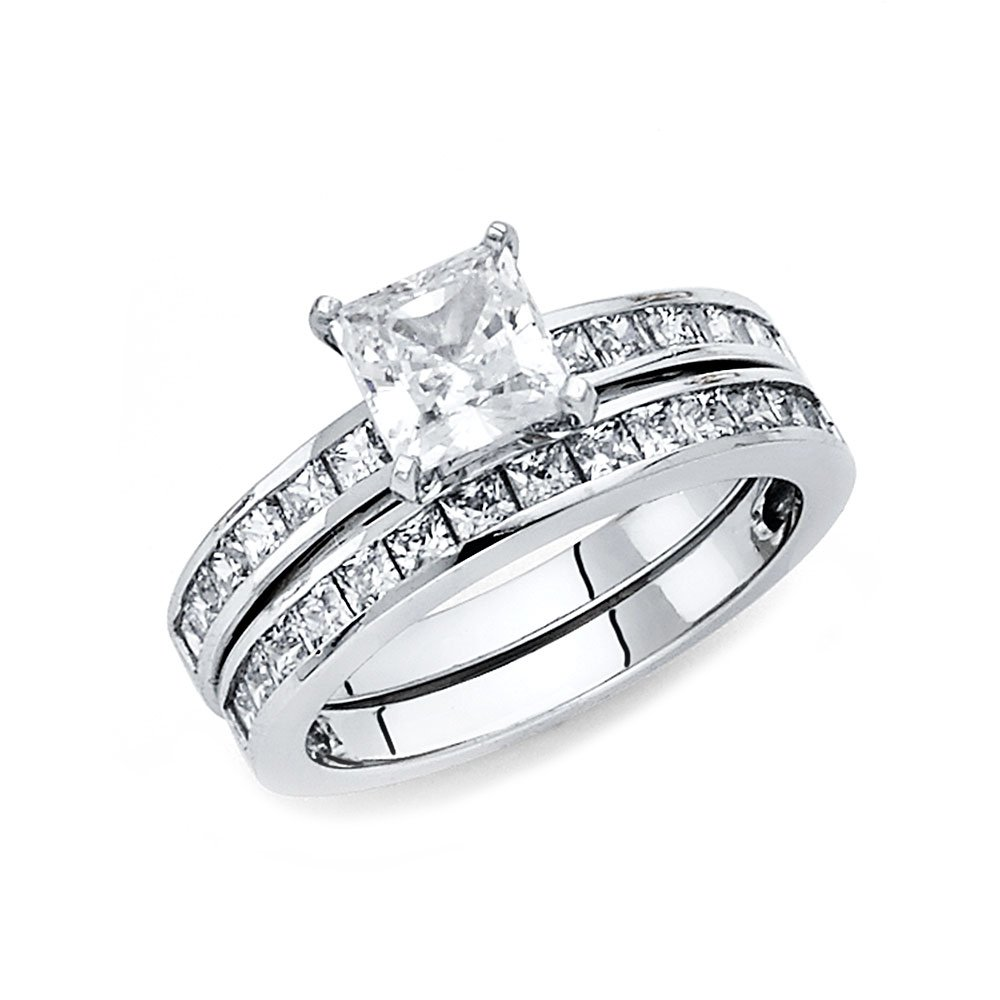Ioka Jewelry - 14K White Solid Gold 1 Ct. Princess Cut Cubic Zirconia CZ Wedding Engagement Ring Set - size 7.5