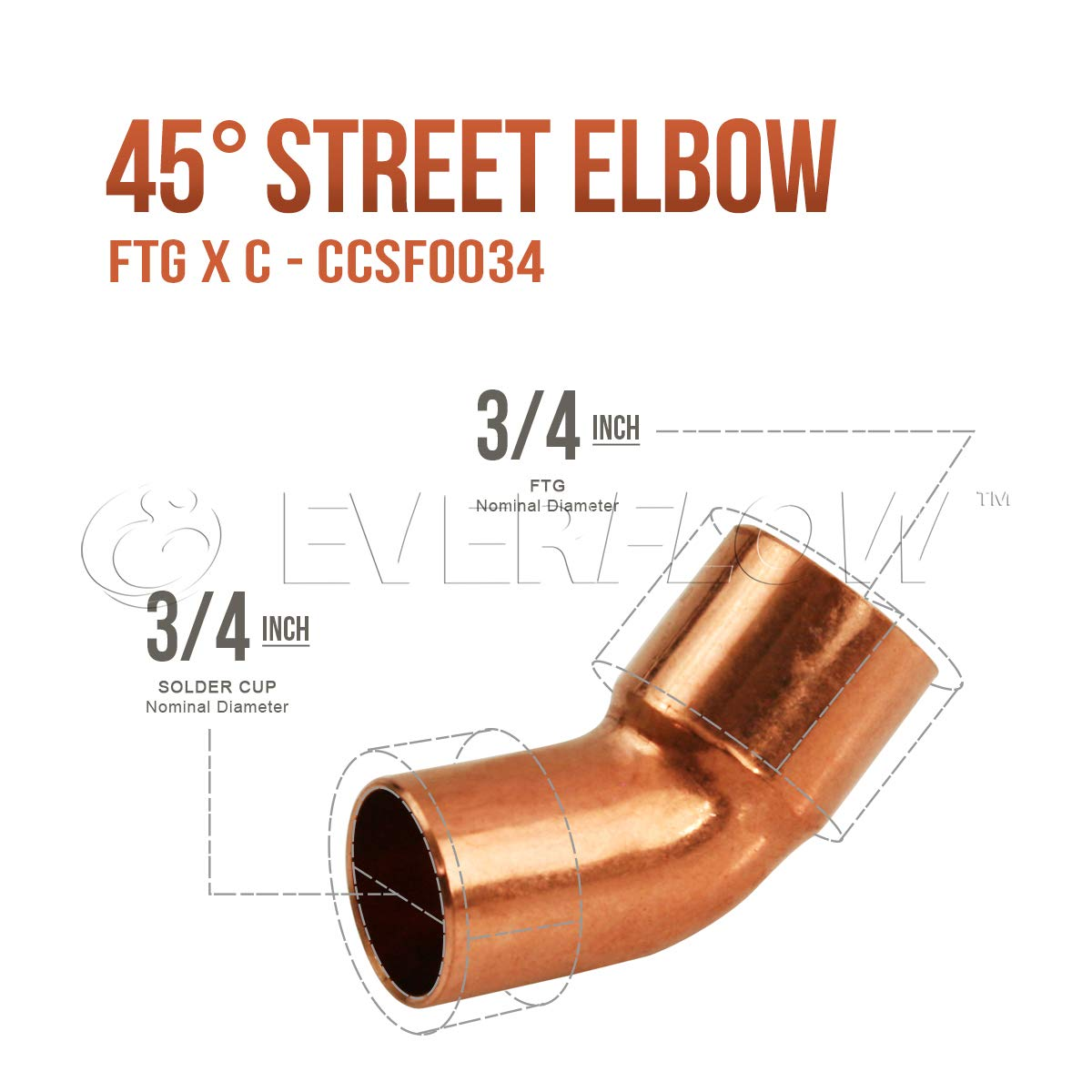 Everflow Supplies CCSF0150 1-1//2 Nominal Size 45 Degree Street Elbow with Male Sweat Connect and Female Sweat Socket
