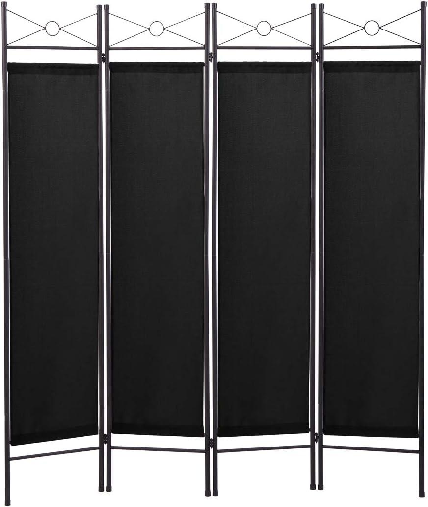 4 Panel Room Divider Folding Privacy Screen Steel Frame Freestanding Partition Divider for Office, Living Room, Black