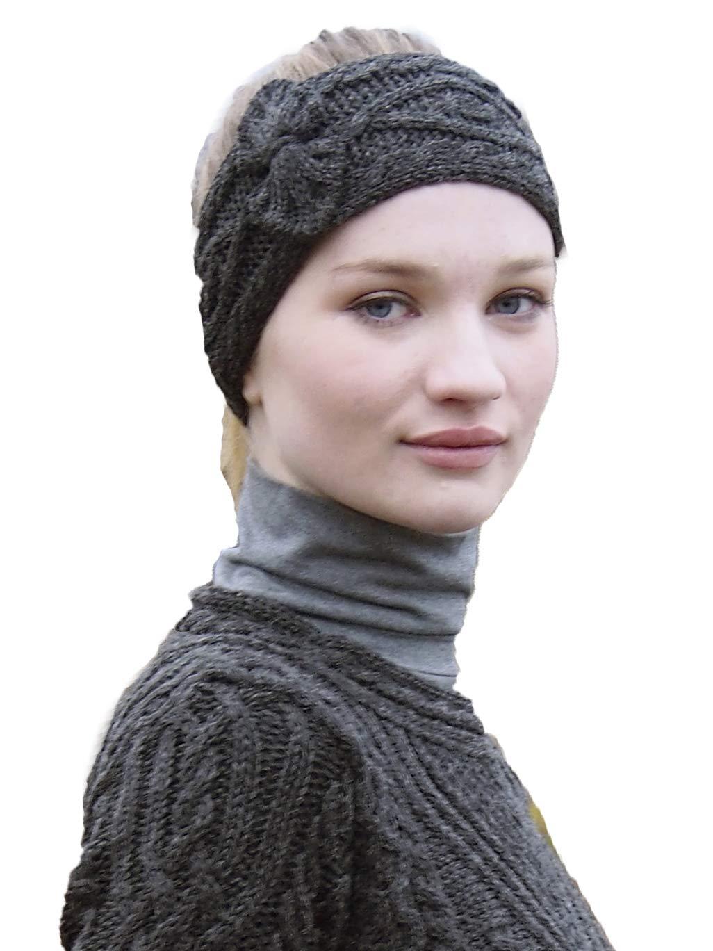 Aran Crafts Headband (100% Merino Wool) One Size Charcoal (X4341-CHAR)