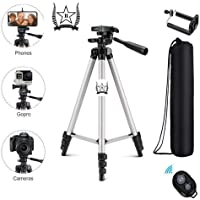 MR R KING&QUEEN Selfie Remote Metal Body Tripod with Mobile Clip Holder Bracket, Stand with 3-Dimensional Head Easy to Handel with Travel (Black, 150 gm)