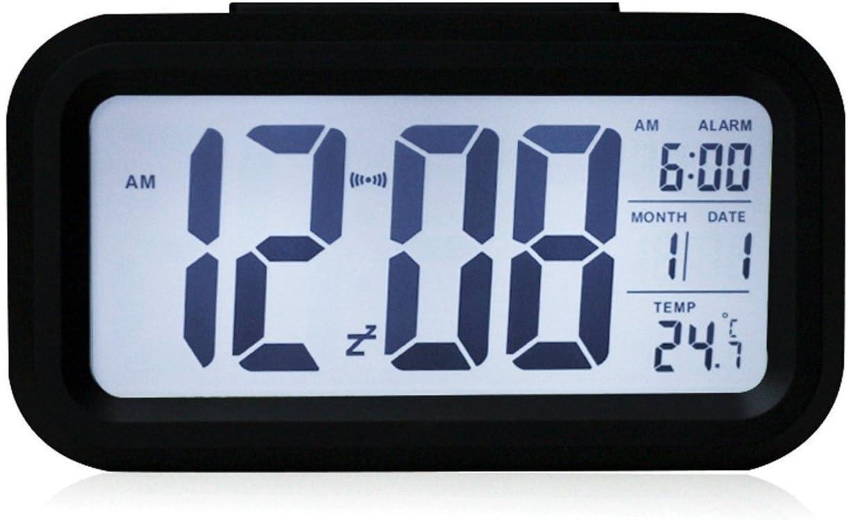 OurLeeme Reloj de Alarma Digital, batería Batería de Noche Pantalla LCD Sensor de luz Reloj de Alarma con función de Despertador Activado Luz Nocturna (Batería no incluida) (Negro)