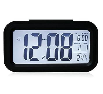 STW 5.3 Reloj despertador digital pilas dormitorio Clock- Temperatura Display- y reloj despertador,