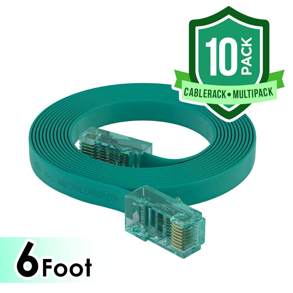 CableRack 6ft Rollover Console Cable RJ45 to RJ45 Male for Cisco 72-3383-01 Green (10-Pack) by CableRack