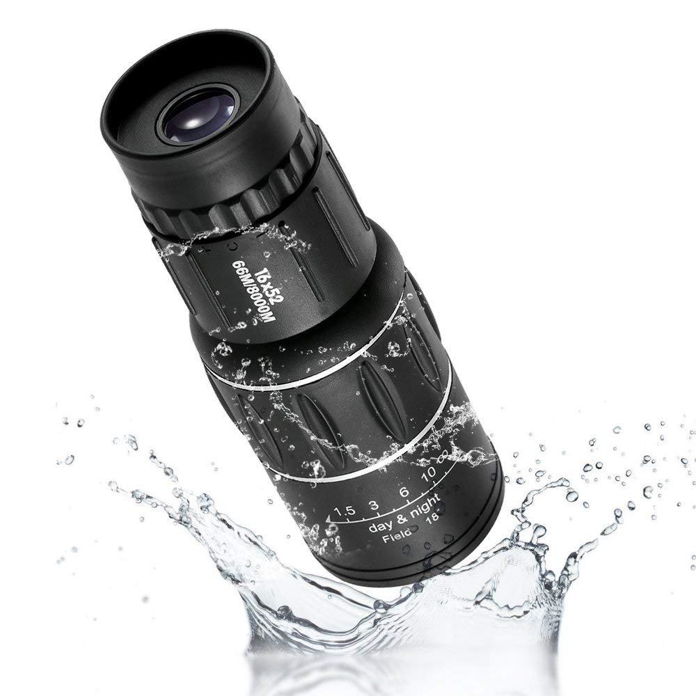 16 x 52 cm Resistente al Agua Turismo Fauna Camping Caza 66 m//8000 m Senderismo Zoom /óptico telescopio Ajustable para P/ájaros Monocular de Enfoque Dual supertransparente
