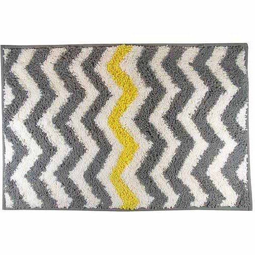 "1 Piece Grey Yellow Chevron Pattern Bath Rug 30""x20"", Elegant Fun Zigzag Stripes Bathroom Mat White Gray Geometric Theme Bathmat, Zig Zag Design, Vibrant Colors, Skid-Resistant No-Slip, Soft Polyester"