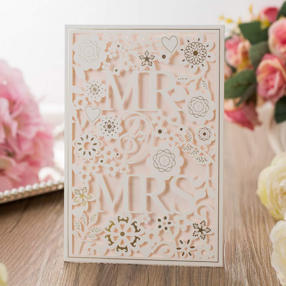Blu Scuro invito Matrimonio con Hollow Pizzo Fiori Inviti di Nozze cartoncino per Sposa Doccia con Buste VStoy Taglio Laser