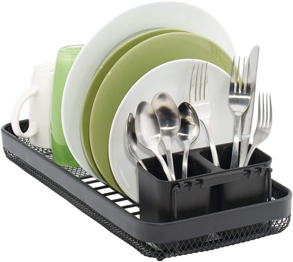 Moderno escurridor de cubiertos y platos de metal con 6 ranuras Bandeja escurreplatos para encimera o fregadero mDesign Escurridor de platos con cubertero extra/íble blanco