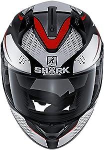 Shark Unisex-Adult Full Face Helmet (Black/White/Red, L - 59-60 cm - 23.2-23.6'')
