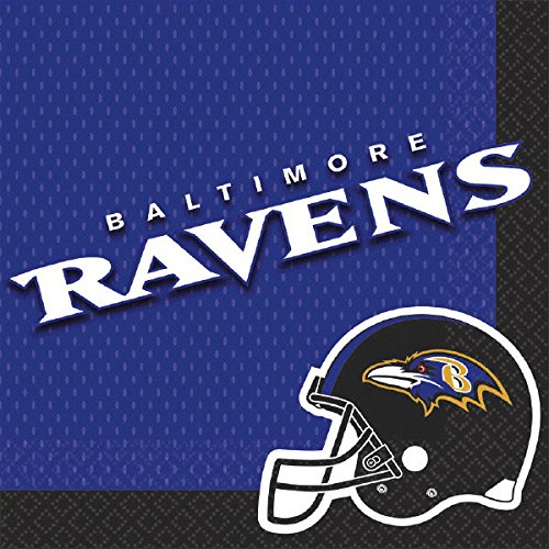 Paper Baltimore Ravens (Amscan Licensed Mlb Baltimore Ravens Party Luncheon Napkins Tableware, Paper Pack of 16 Childrens, 6