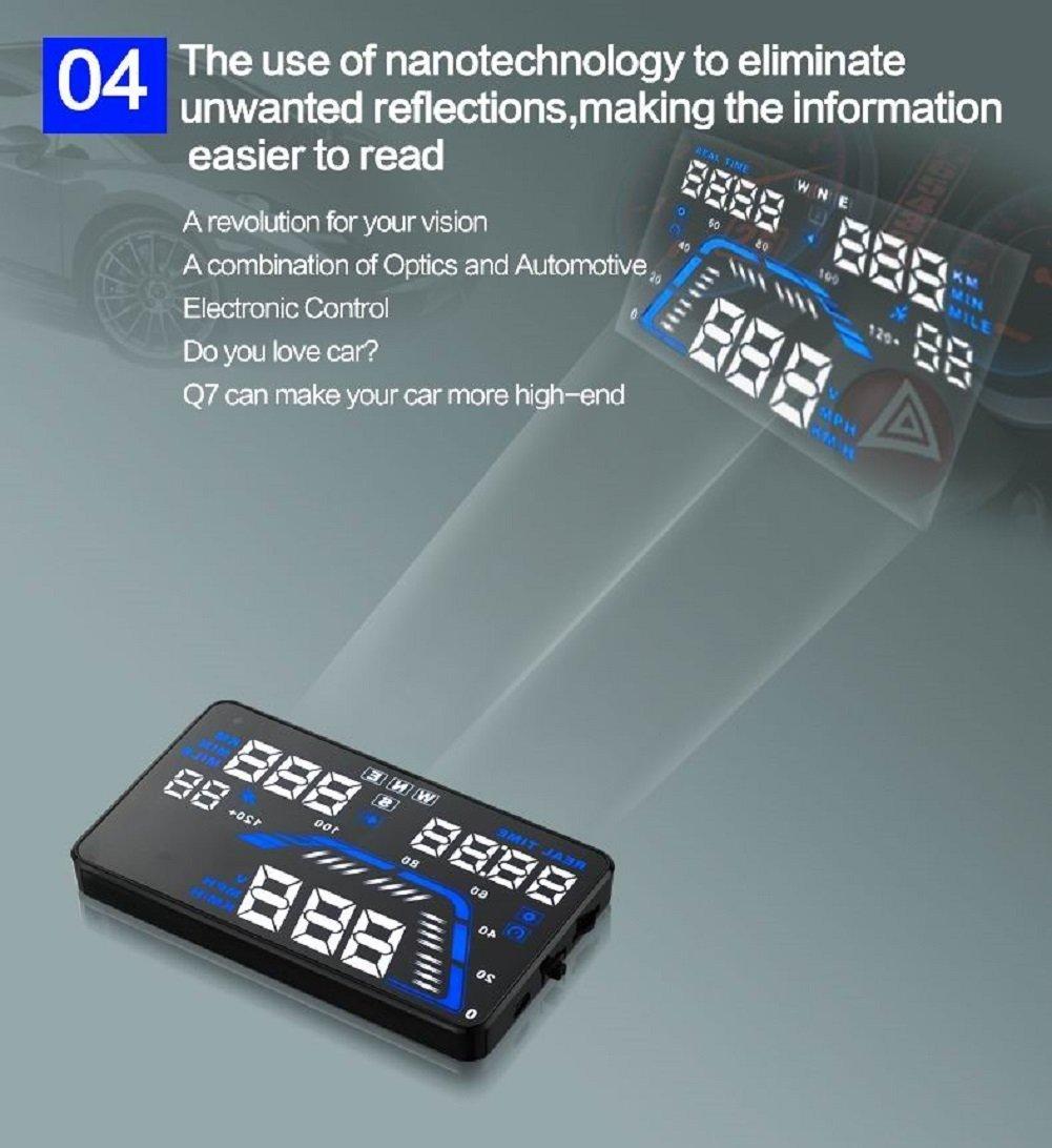 MRCARTOOL 5.5'' Q7 Car HUD Head Up Display Speedometers Car Overspeed GPS Warning Dashboard Windshield Projector Reflective Film by AUTOOL (Image #5)