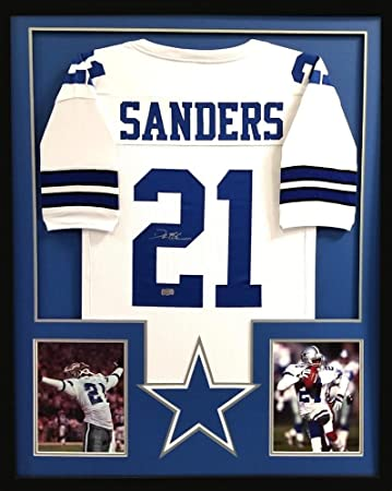 017bc431a Deion Sanders Signed Jersey - Framed White Custom - Autographed NFL Jerseys