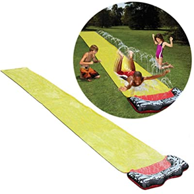 PITCHBLA Backyard Water Slide for Kids Adults, Garden Racing Double Water Slides Mat, Inflatable Surfboard, Summer Spray Water Toys, Outdoor Grass Game: Sports & Outdoors
