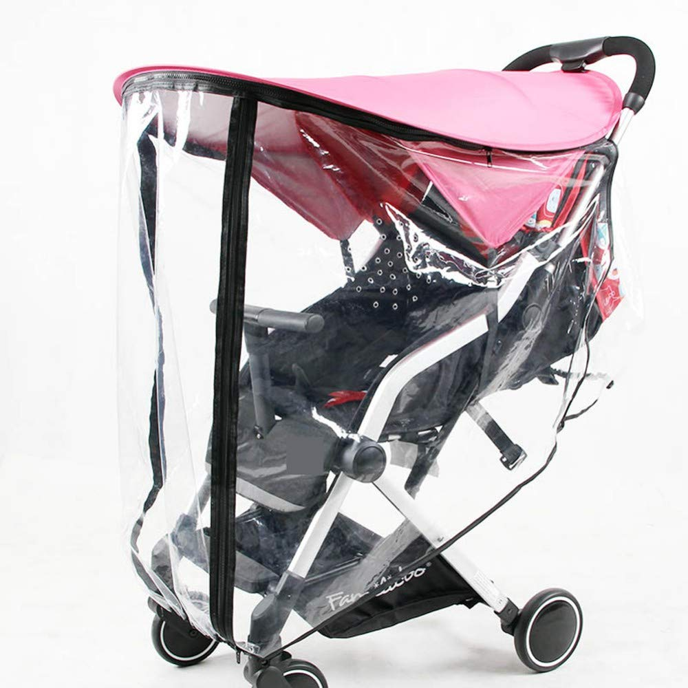 Pink Stroller Sun Shade Rain Cover Universal UV Protection Cover, Princess Awning Canopy Extender, Baby Carriages Stroller Weather Shield, Easy in Zipper, Pram Rayshade