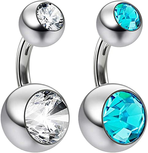 3 X CLEAR DOUBLE JEWELS GEMS Navel Belly Button Ring Body Jewelry Piercing 14G