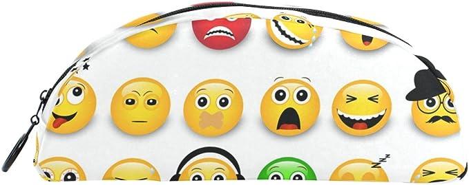 COOSUN Emoticonos Amarillo Emojis Estuche Semicircular Estuche de Papelería Bolso Soporte Estuche Bolsa de Maquillaje Bolsa de Cosméticos para Mujer Niña: Amazon.es: Oficina y papelería