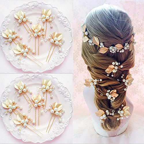 estone Pearls Hairpin Flower Hair Clip Bride Wedding Jewelry ()