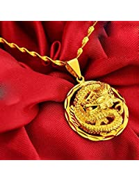 CS-DB 24K Real Gold 24K Real Yellow Gold Filled Golden Dragon Pendant Necklace Chain Solid Women Men women Ladies boys