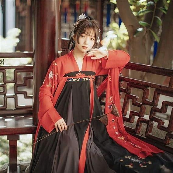 YCWY Vestido Bordado para Mujeres, Chino Vintage Hanfu para Mujeres para Fiesta, Ropa de sesión de Fotos Cosplay Trajes de Baile Flying Crane Impresión,M: Amazon.es: Hogar