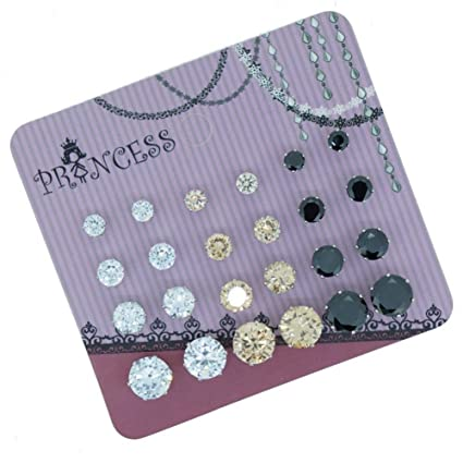 Pack of 12 Pairs Cubic Zirconia Crystal Magnetic Stud Earrings Mix Size Color w8GnmTWa