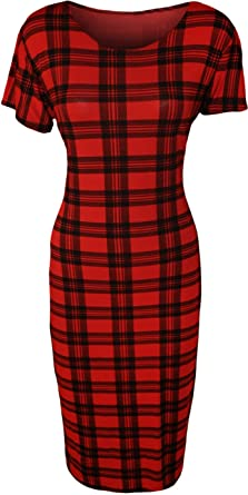 Amazon.com: PaperMoon Women\'s Plus Size Tartan Midi Dress: Clothing