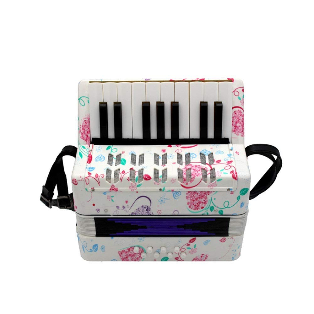 Accordion 17 Keys 8 Bass Kids Piano Accordion with Straps Music Instruments for Beginners Students Mini Small Size Educational Instrument Band Toy Children's Gift
