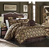 Chic Home 9 Piece Le Mans Decorator Upholstery Quality Jacquard Motif Fabric Bedroom Comforter Set & Pillows Ensemble, King, Brown
