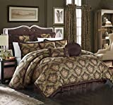 Chic Home 9 Piece Le Mans Decorator Upholstery Quality Jacquard Motif Fabric Bedroom Comforter Set & Pillows Ensemble, Queen, Brown