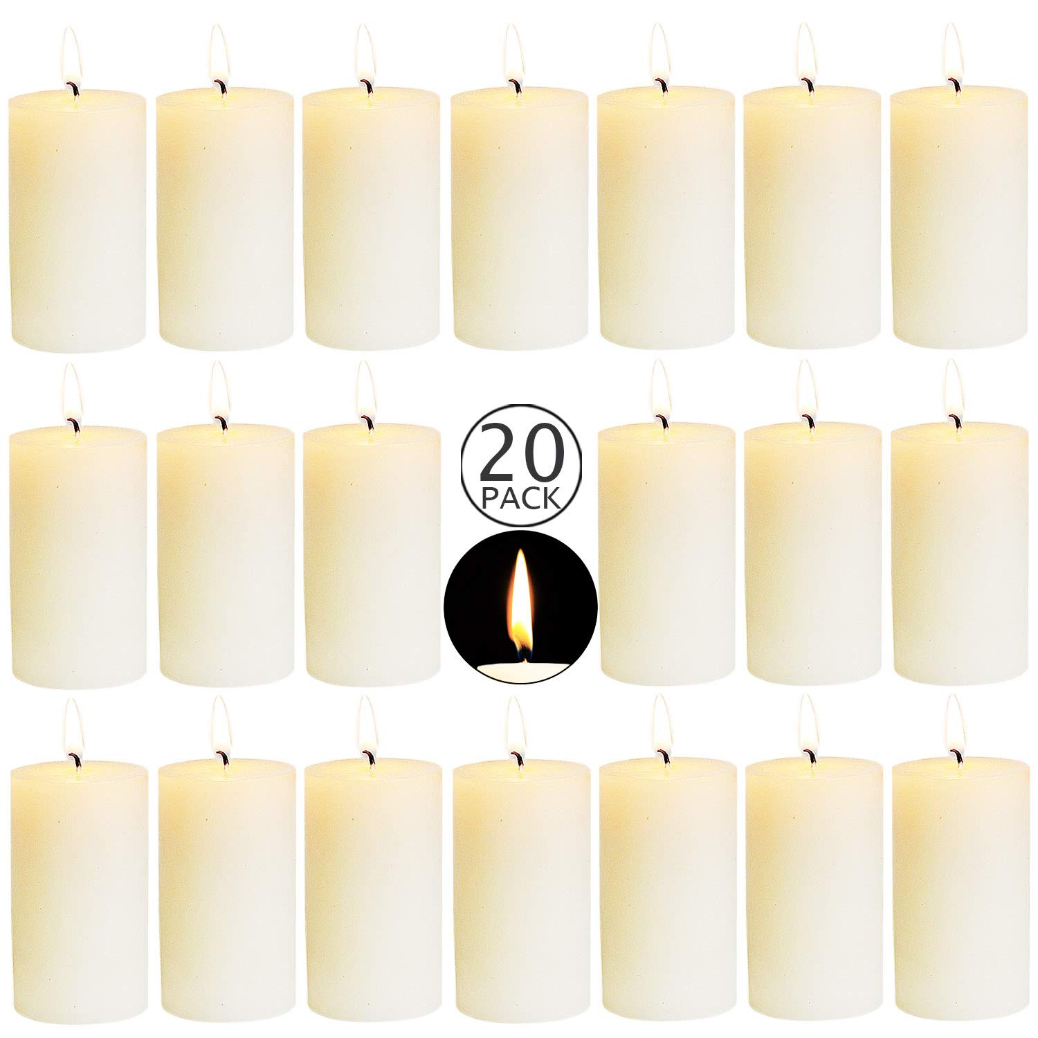 XYUT 20 Ivory Wedding Party Pillar Candles Aprox. 2X4 Inches