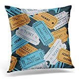 old concert tickets - Breezat Throw Pillow Cover Blue Access Ticket Admit One of Theater Cinema Concert Old Style Pass Coupon Pale Colors on Dark Decorative Pillow Case Home Decor Square 18x18 Inches Pillowcase