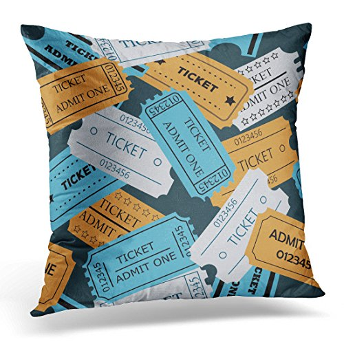 Emvency Throw Pillow Cover Blue Access Ticket Admit One of Theater Cinema Concert Old Style Pass Coupon Pale Colors on Dark Decorative Pillow Case Home Decor Square 18x18 Inches Pillowcase