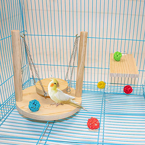 3 Packs Parrot Swing Toys Set,Natural Wood Parakeet Swing Bird Cage Perch Toys Colorful Rattan Balls Chew or Climb,Suitable for Small and Medium Conures, Love Birds, Cockatiels, Macaws, Finches (H01)
