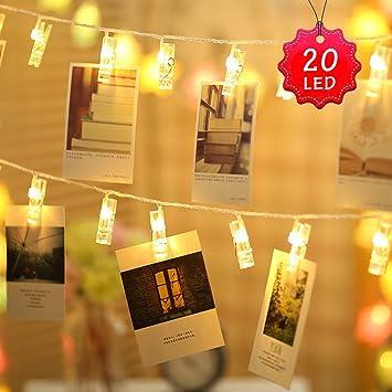 Lumineuse Photo 20 Led Clip 2m 2 Lumière Usb Guirlandes Eclairage KTFl31Jc