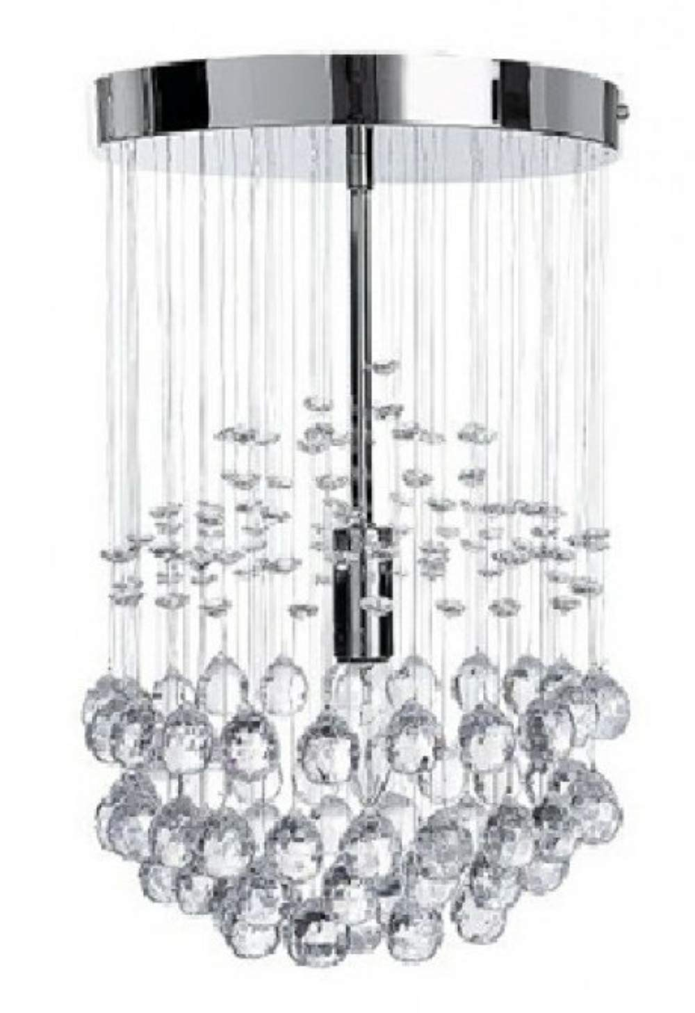 best service df35f d63d1 Modern Silver Chrome Ceiling Light with Suspended Clear Acrylic Droplets
