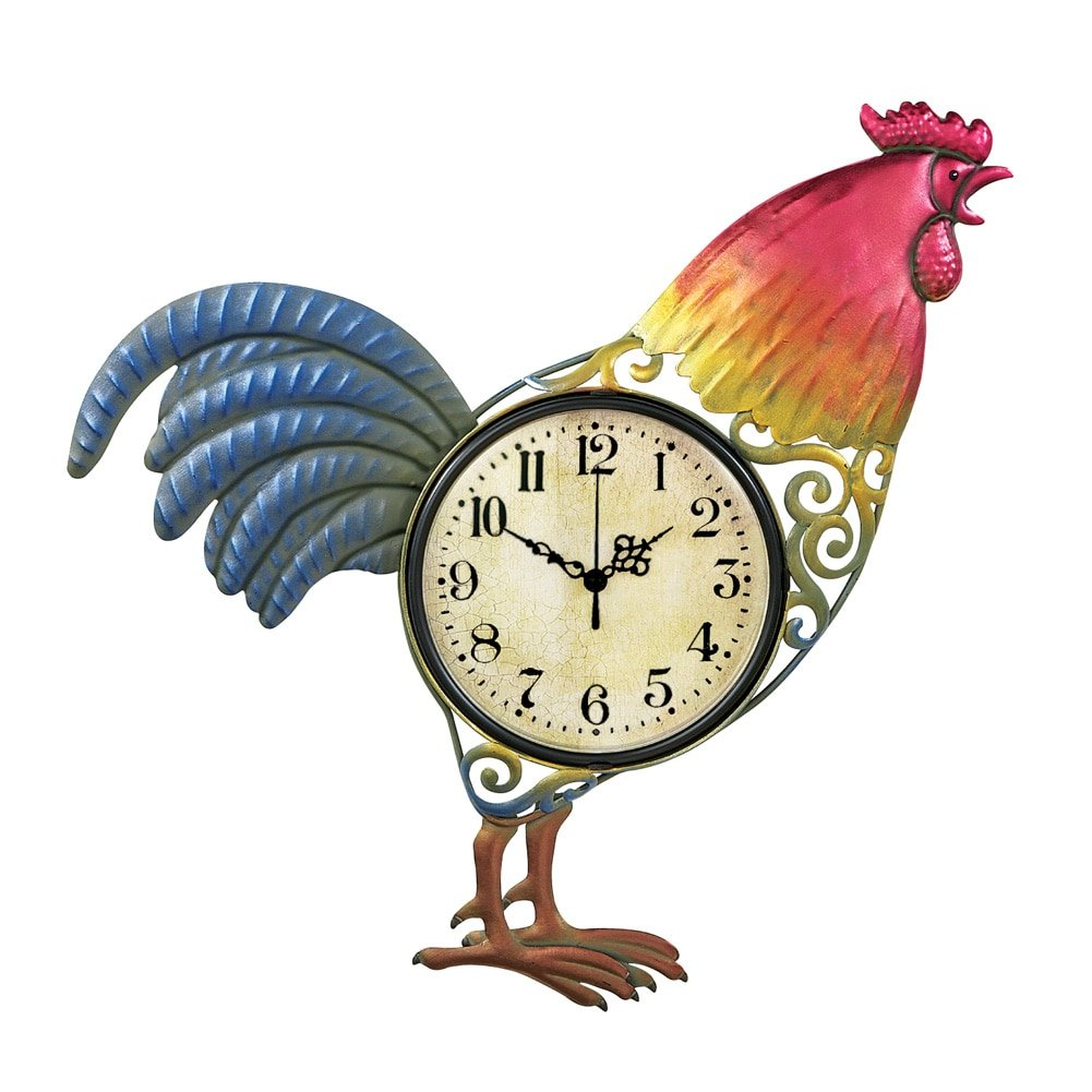 Collections Etc Colorful Hand-painted Metal Rooster Wall Clock