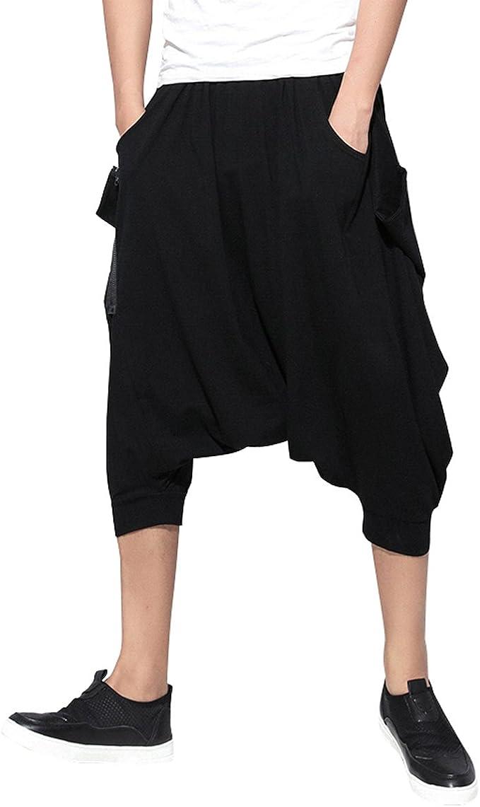 ELLAZHU Invierno de los Hombres Holgado Cintura elástico de los Pantalones del Harem sólido GYM25