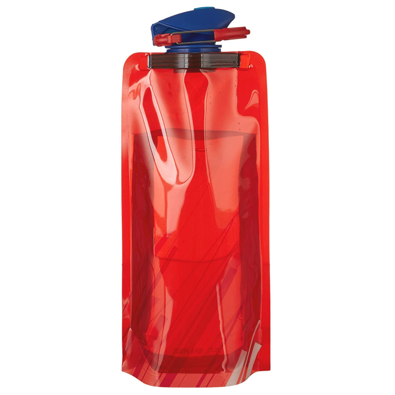 Faltbare Trinkflasche /»Compact/« 700 ml zusammenklappbar Scarlet Sport rollbar ; Set mit 4 Flaschen; BPA-frei; flexibel wiederverwendbar