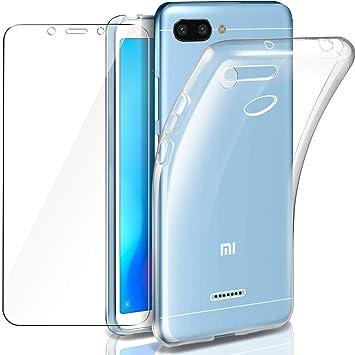 Leathlux Funda Redmi 6 Funda + Protector de Pantalla de Cristal Templado, Suave Transparente Silicona Protectora TPU Gel Fina Carcasa para Xiaomi ...